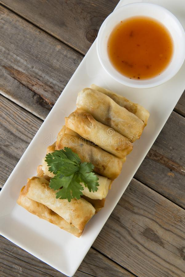 Lumpia Spring Rolls , asian food royalty free stock photos
