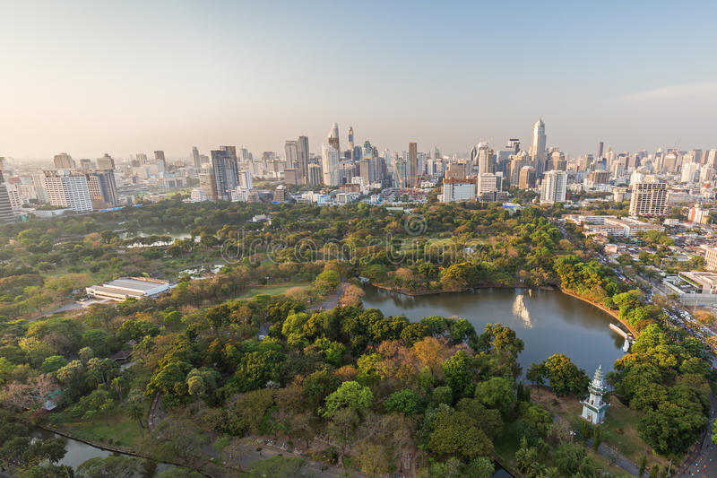 Lumpini Park in Bangkok viewed from above stock photography