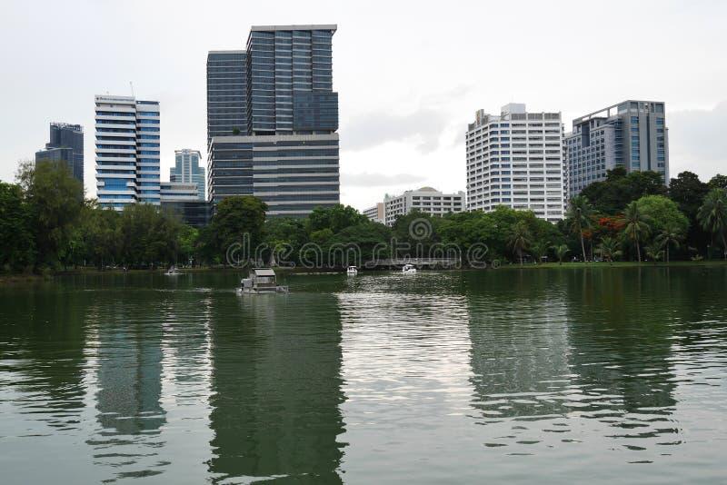 Lumpini parkerar Bangkok, skyskrapor, tornkvarter, reflexioner på sjön royaltyfri fotografi
