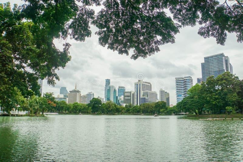 Lumpinipark Bangkok/Thailand: 1 augustus 2018: schoon kanaal met schaduw van groene grote bomen in park met wolkenkrabbers royalty-vrije stock fotografie