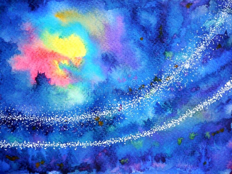 Luna abstracta del sol de la luz roja del amarillo de las ilustraciones en noche azul marino del cielo ilustración del vector