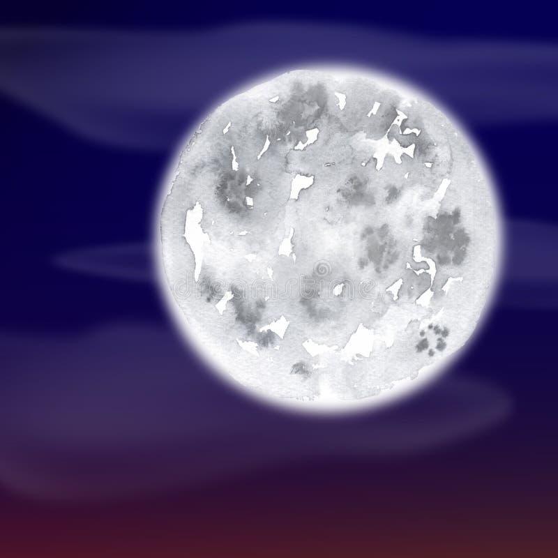 Luna - acquerello del disegno della mano fotografia stock libera da diritti