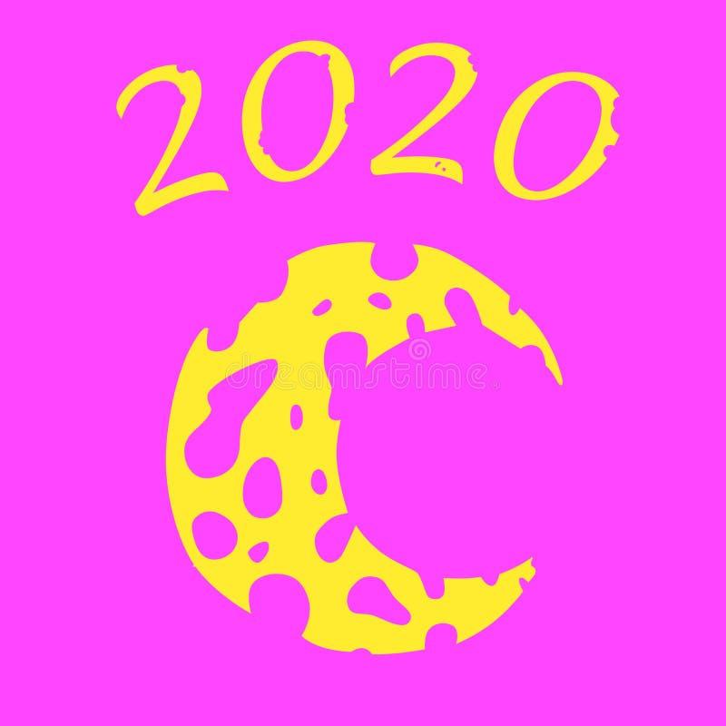 Luna amarilla bajo la forma de queso en un fondo rosado Agujeros en el queso A?o Nuevo 2020 stock de ilustración