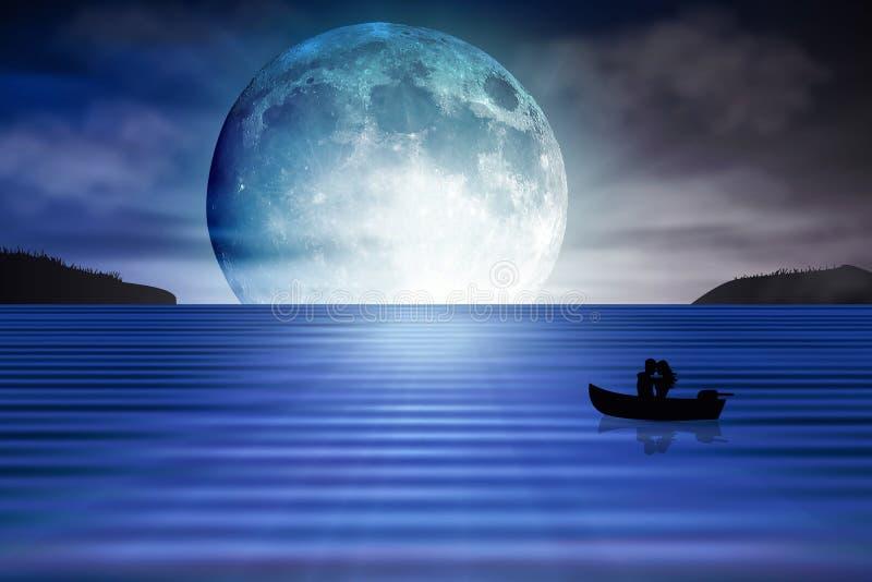 Luna azul que sube del fondo de los amantes del mar stock de ilustración
