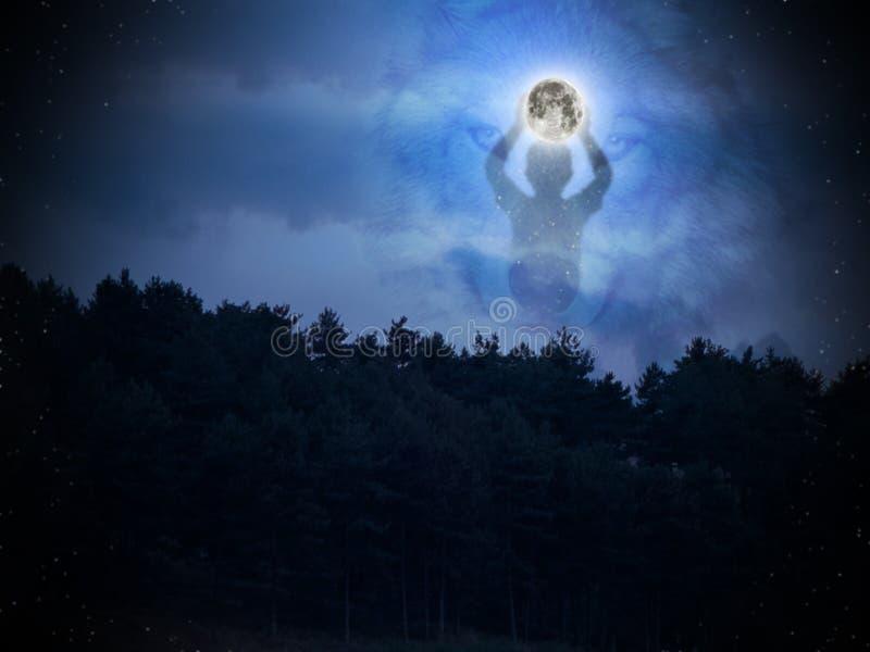 Luna, bambino e lupo immagine stock libera da diritti