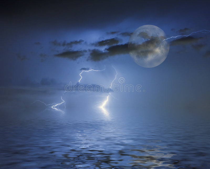Luna blu piena illustrazione di stock