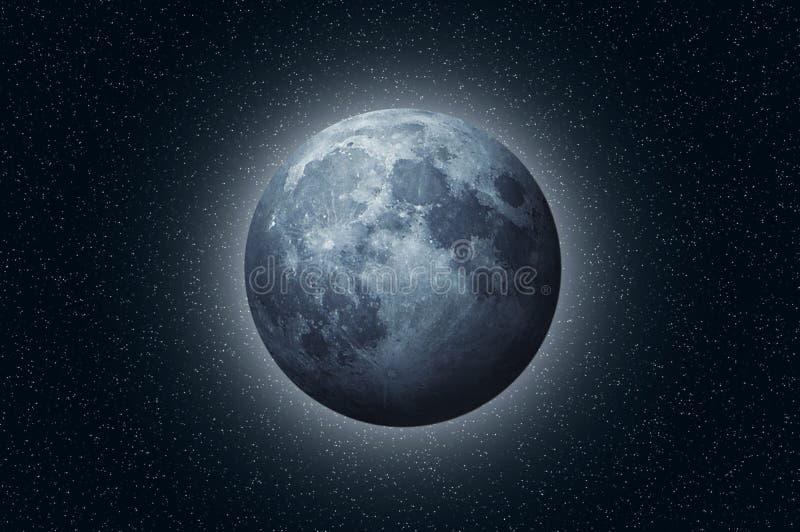 Luna blu piena nello spazio fotografie stock