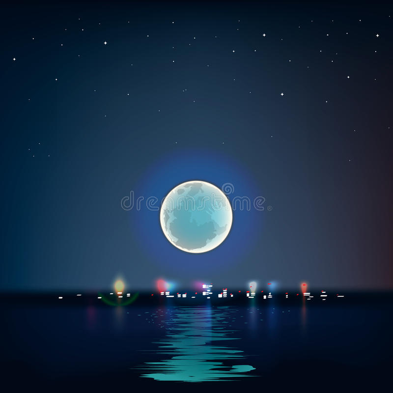 Luna blu piena sopra l'acqua fredda di notte illustrazione di stock