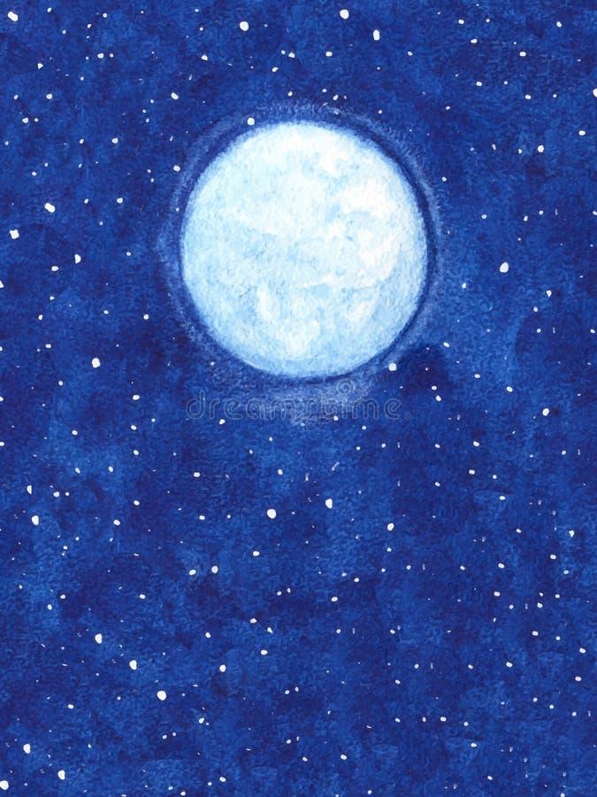 Luna brillante del vector pintado a mano con las estrellas en el ejemplo del cielo nocturno stock de ilustración