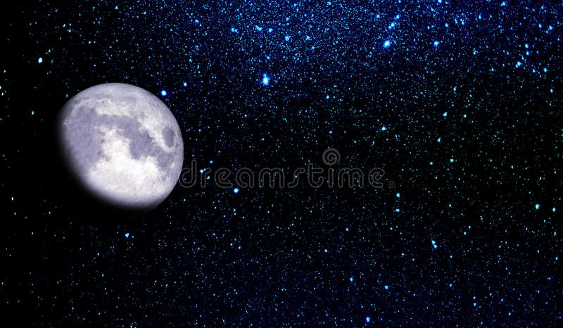 Luna in cielo notturno stellato immagine stock