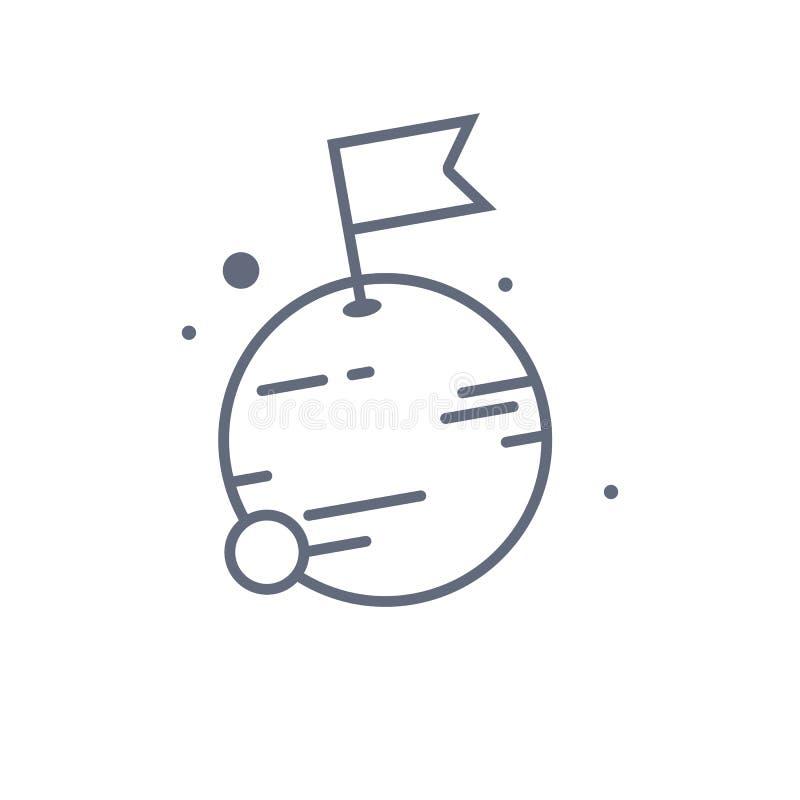 Luna con la linea di bandiera icona segno lineare di stile per il concetto ed il web design mobili Bandiera sull'icona di vettore illustrazione vettoriale