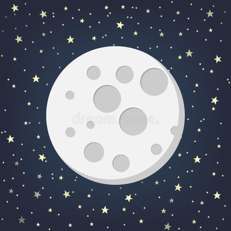 Luna con las estrellas en estilo plano del dasign Ilustración del vector ilustración del vector
