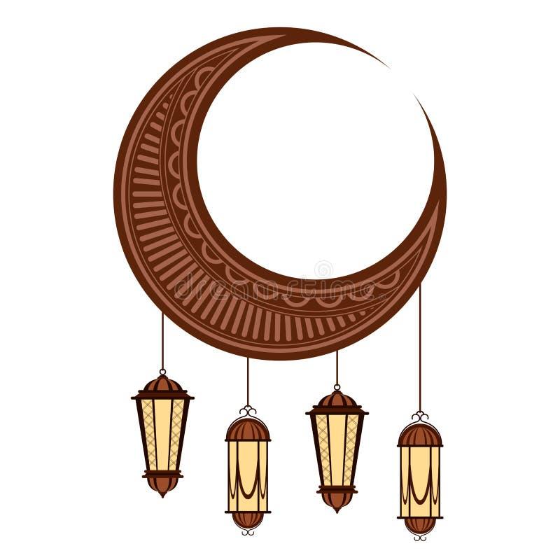 Luna con las lámparas árabes Ramadan Kareem libre illustration