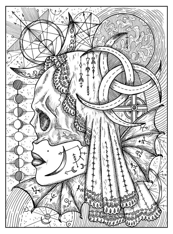 Luna Concepto místico blanco y negro para la carta de tarot del oráculo de Lenormand libre illustration