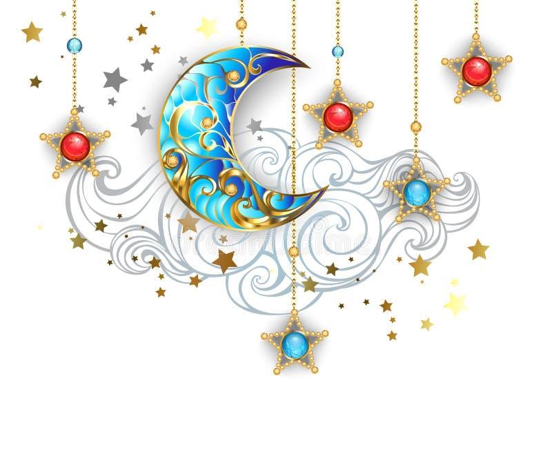 Luna creciente de oro en el fondo blanco ilustración del vector