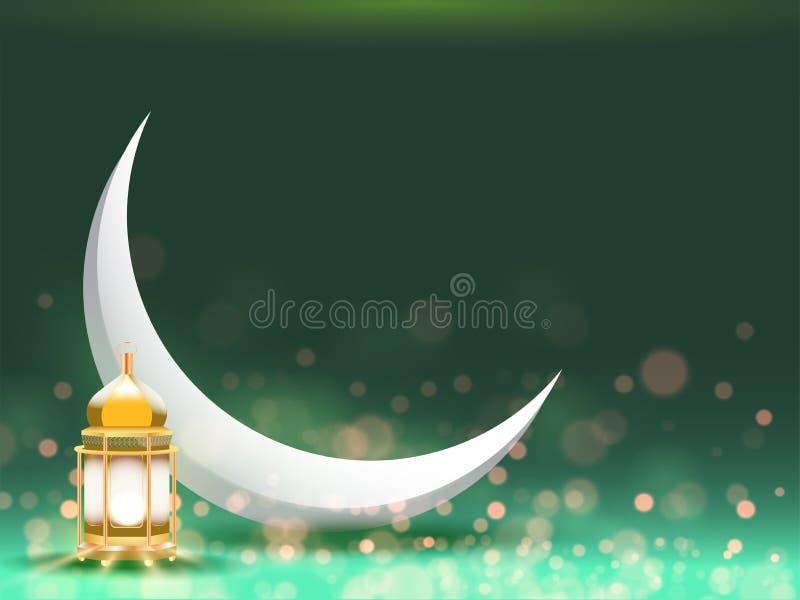 Luna creciente y linterna iluminada de oro en el fondo verde del efecto del bokeh para la celebración islámica del festival Puede stock de ilustración