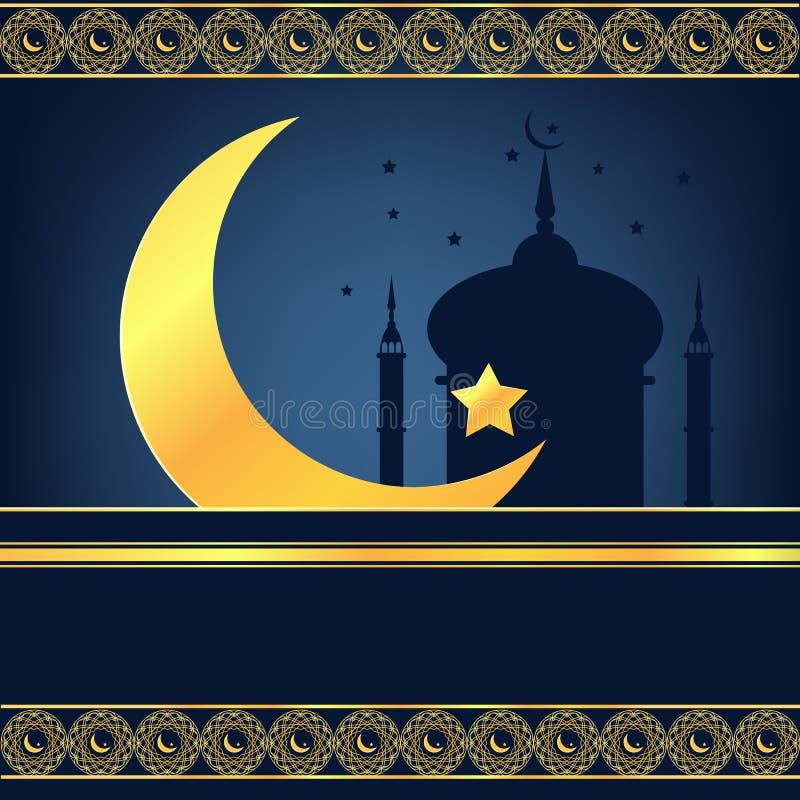 Luna crescente blu e dorata brillante sul festival blu del fondo illustrazione di stock