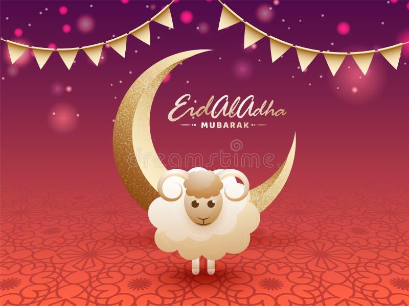 Luna crescente dorata con effetto di lerciume e l'illustrazione o delle pecore illustrazione di stock