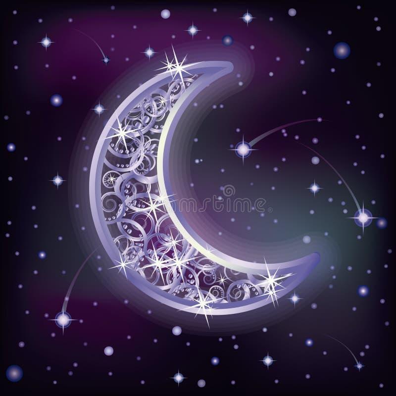 Luna d'argento e cielo stellato di notte, vettore royalty illustrazione gratis
