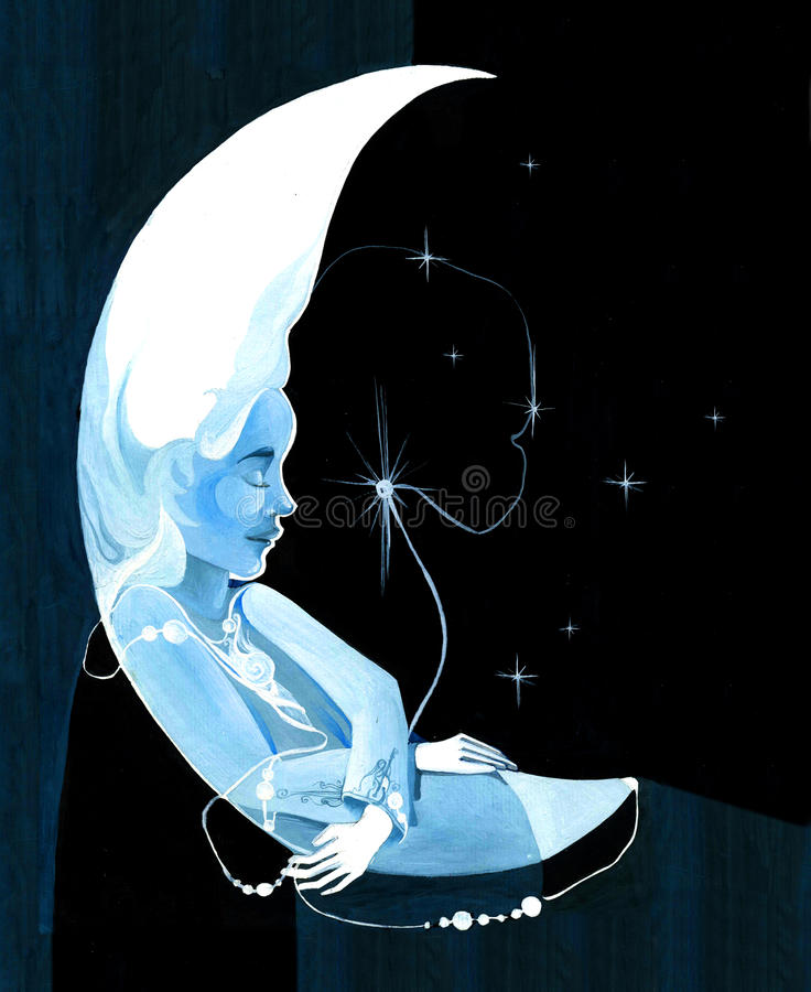 Luna de hadas stock de ilustración