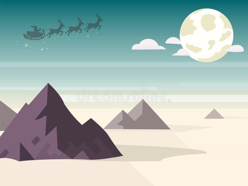 Luna de la calma de la montaña de Papá Noel fotografía de archivo libre de regalías