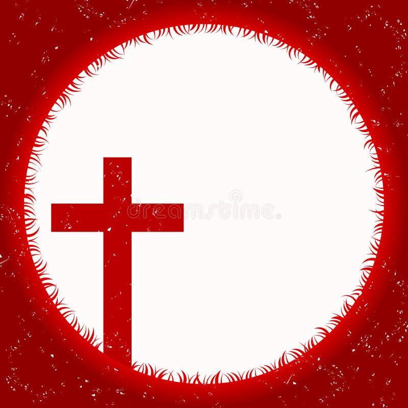 Luna de la sangre con la cruz stock de ilustración