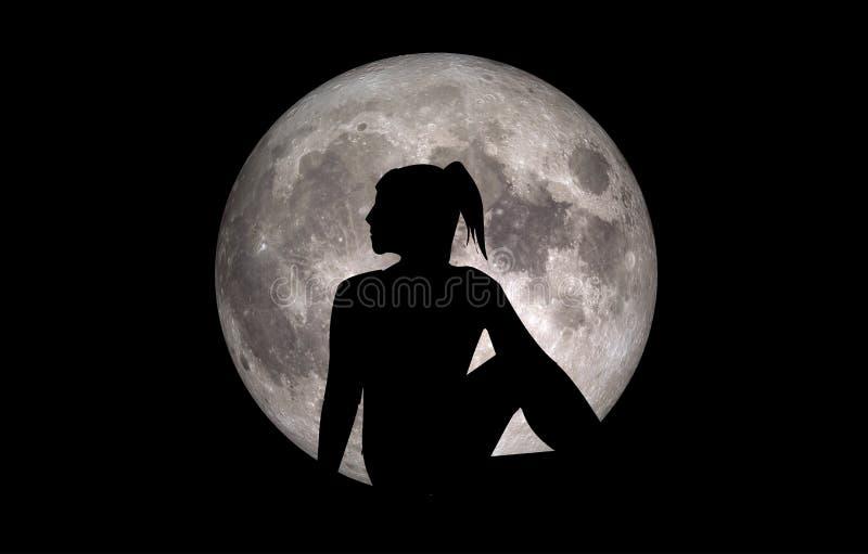 Luna de la silueta de Ardha Matsyendrasana de la actitud de la yoga libre illustration