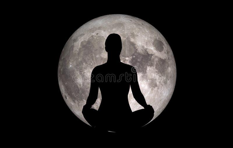 Luna de la silueta de Baddhakonasana de la actitud de la yoga stock de ilustración