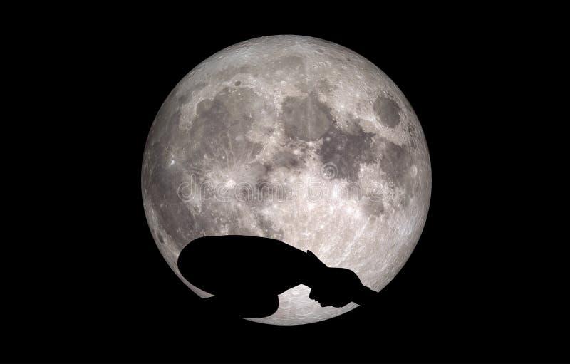 Luna de la silueta de Balasana de la actitud de la yoga stock de ilustración