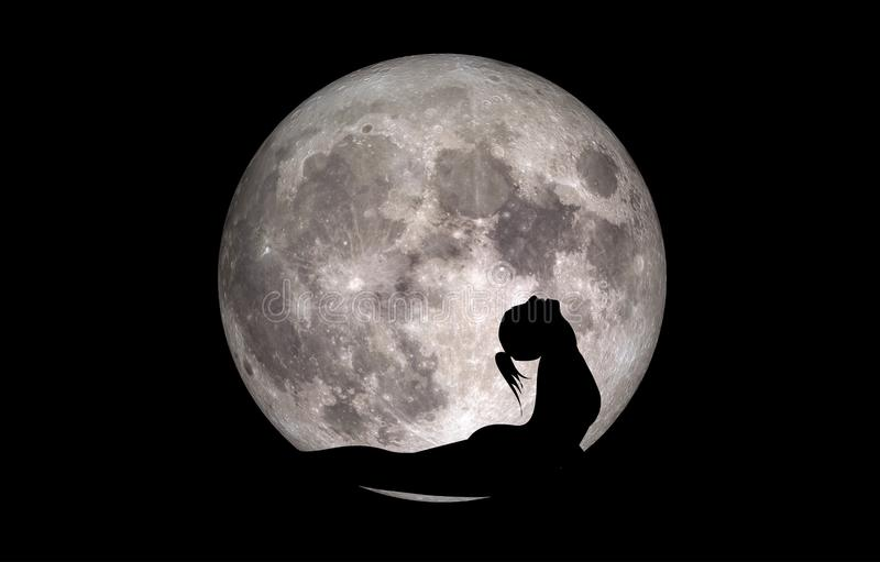 Luna de la silueta de Bhujangasana de la actitud de la yoga ilustración del vector