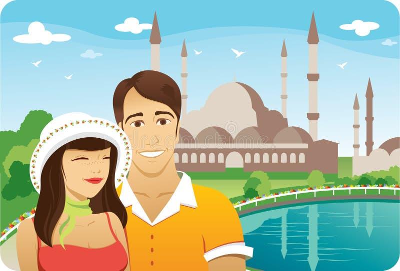 Luna de miel en Estambul stock de ilustración