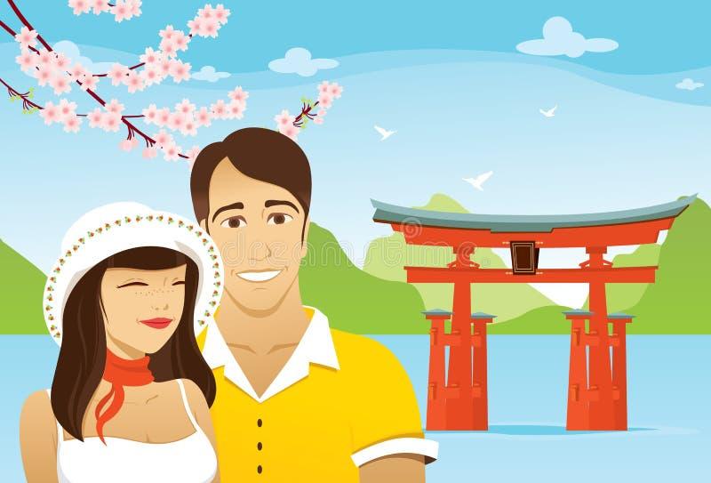 Luna de miel en Japón ilustración del vector