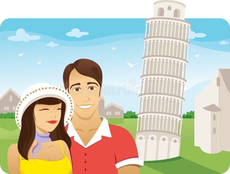 Luna de miel en la torre de Pisa ilustración del vector