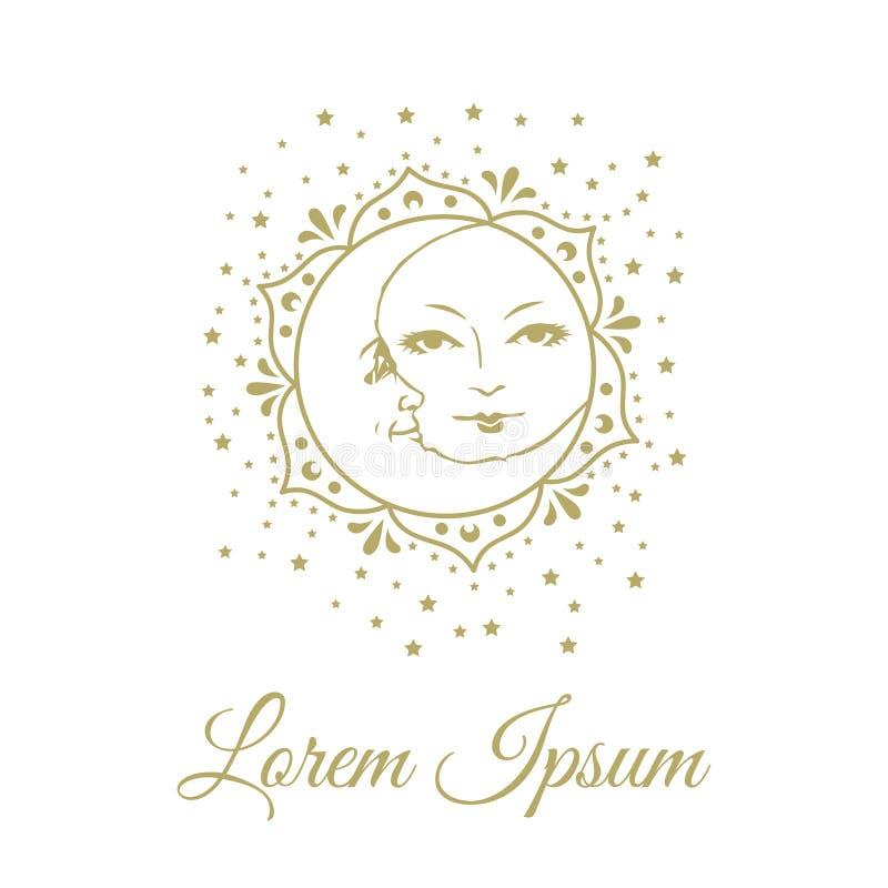 Luna de Sun y mandala de las estrellas ilustración del vector
