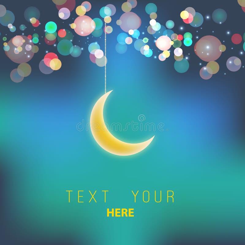 Luna decorativa brillante en el fondo púrpura del bokeh para los eventos musulmanes de la comunidad Eid Mubarak; Saludos del kare libre illustration