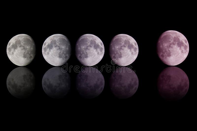 Luna del color de la pendiente en negro fotos de archivo libres de regalías