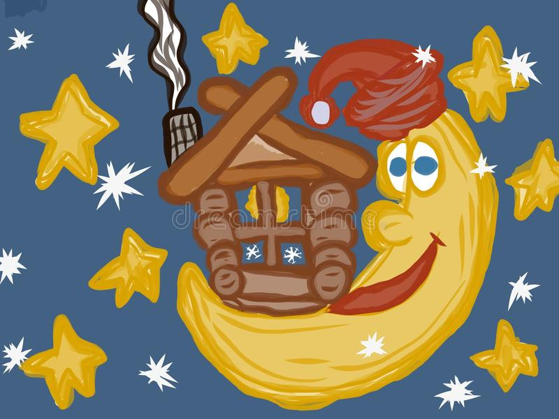 Luna del cuento de hadas y dibujo artístico de la casa stock de ilustración
