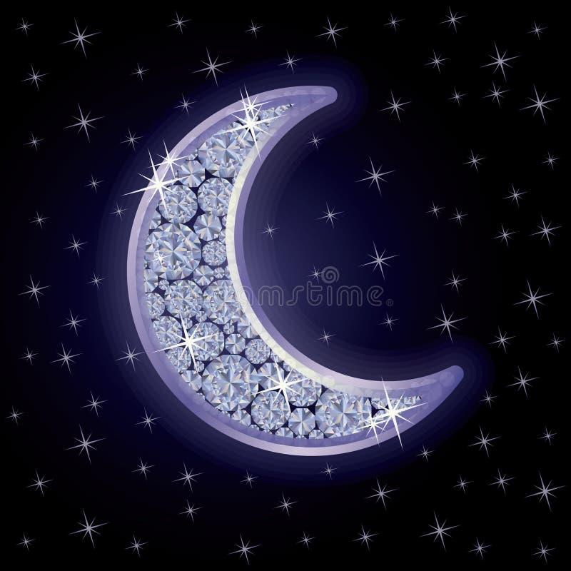 Luna del diamante in cielo notturno stellato, vettore illustrazione di stock