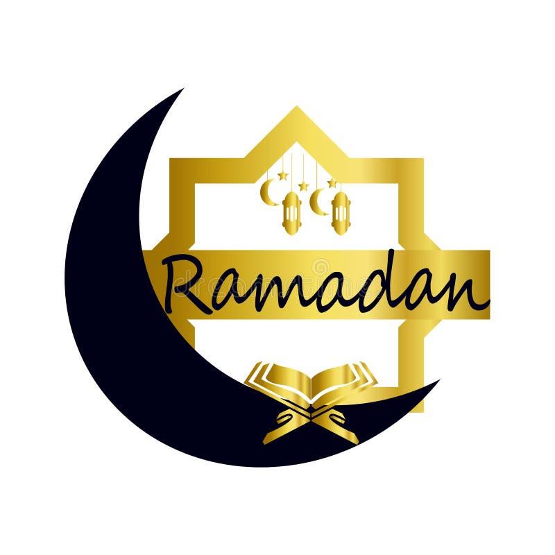 Luna del dise?o isl?mico de Ramadan Kareem y silueta crecientes de la b?veda de la mezquita con el modelo y la caligraf?a ?rabes  ilustración del vector