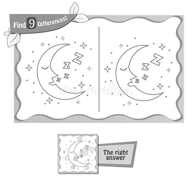 Luna del juego de las diferencias del hallazgo 9 libre illustration