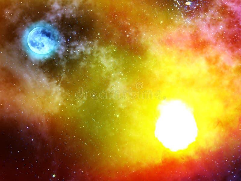 Luna della nebbia del sole delle stelle fotografia stock libera da diritti