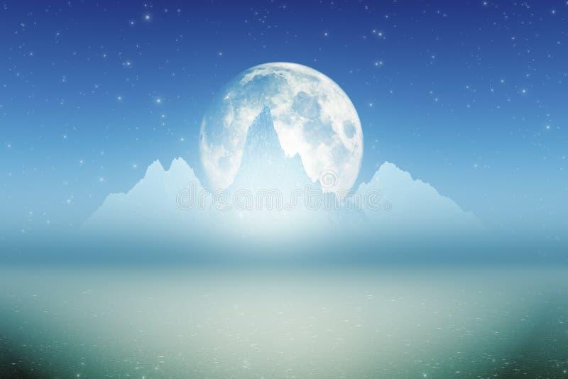 Luna delle montagne di ghiaccio grande royalty illustrazione gratis