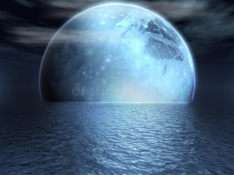 Luna di fantasia sopra un lago illustrazione vettoriale