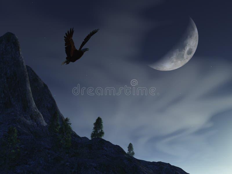 Luna di notte sopra l'aquila della montagna illustrazione vettoriale