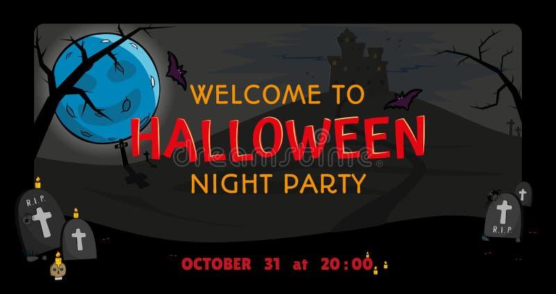 Luna e castello sull'invito della collina per Halloween Benvenuto al partito di notte di Halloween fra le pietre tombali Vettore royalty illustrazione gratis