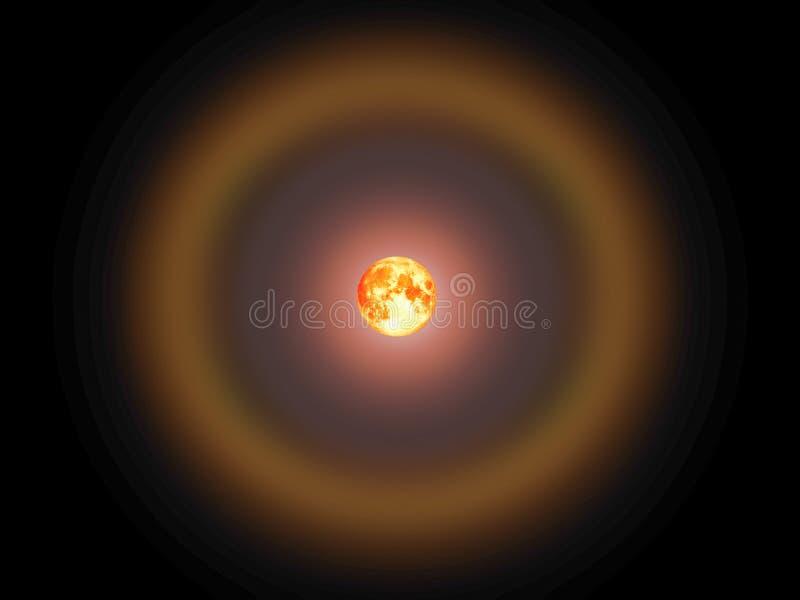 Luna e corona della razza pura in cielo notturno immagine stock