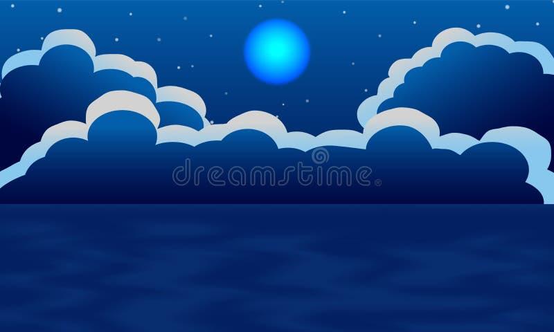Luna e nuvola con la vista del mare del cielo notturno illustrazione vettoriale