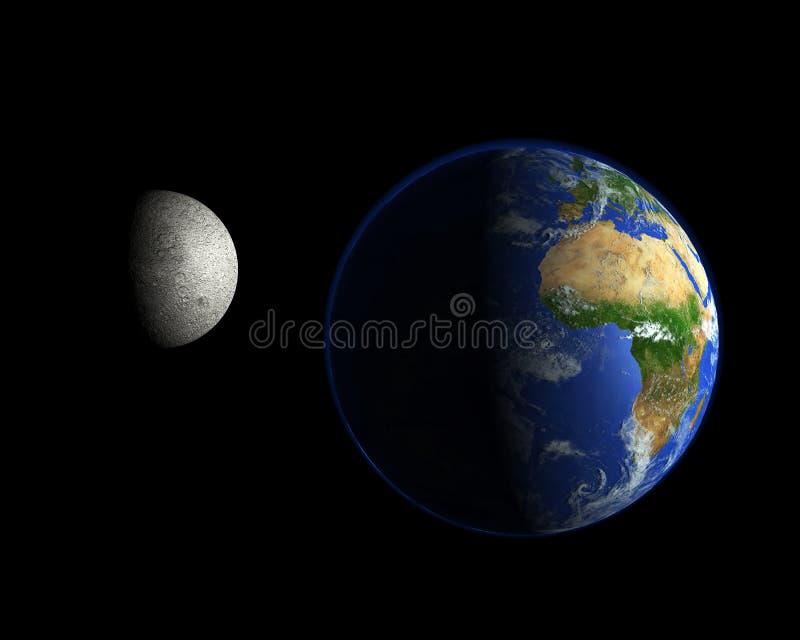 Luna e pianeta Terra nello spazio fotografia stock