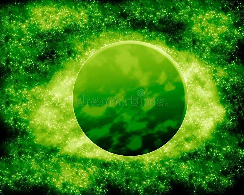 Luna e pianeta verdi - spazio di fantasia fotografie stock libere da diritti