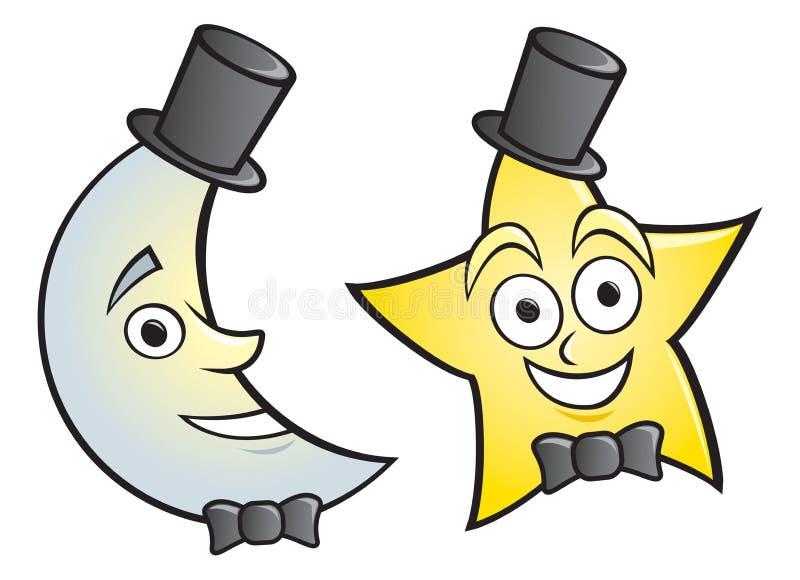 Luna e stella su vestite illustrazione vettoriale